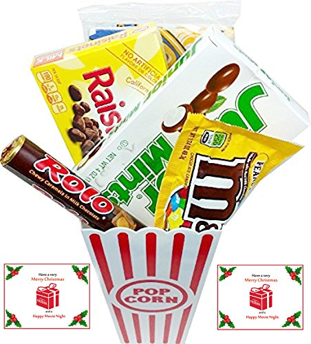 Have A Merry Christmas And A Happy Movie Night Gift Basket ~ Includes Butter Popcorn, Concession Stand Candy and a Gift Card for 2 Free Redbox Movie Rentals (Junior Mints) ()