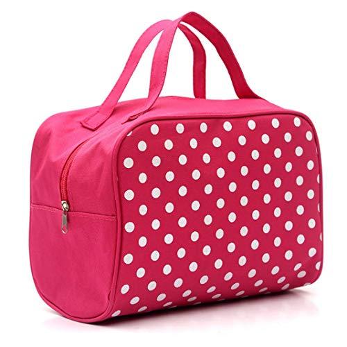 (Dot Waterproof Dual Zipper Cosmetic Bag,Makeup Multifunction Lady Girls Travel Makeup Bag Toiletry Organizer Handbag Pouch (2520CM/9.87.8