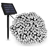 TECBOX LED Solar String Light Waterproof 72ft 200 LED Dimmable Fairy String Lights Ambiance lighting for Outdoor, Patio, Lawn, Landscape, Fairy Garden, Home, Wedding, Holiday, Xmas Tree (White)