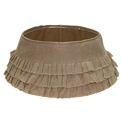New Traditions - Burlap Stand Band Tree Collar with Tiered Ruffles - Tan