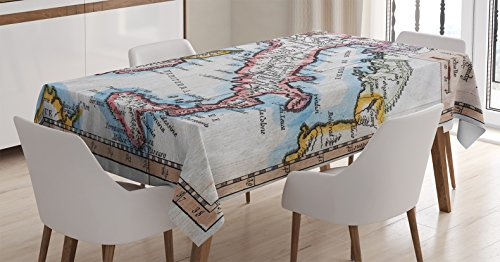 Ambesonne Wanderlust Decor Tablecloth, Colored XVIIIth Century Italy Map, by Royal French Geographer Vaugondy, Dining Room Kitchen Rectangular Table Cover, Blush Blue