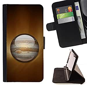 DEVIL CASE - FOR HTC One M7 - Saturn Planet - Style PU Leather Case Wallet Flip Stand Flap Closure Cover