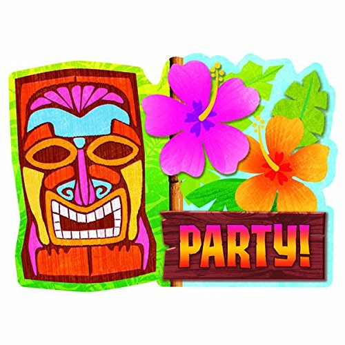 Sun-sational Luau Party Tiki Invitations Value Pack , Paper, 4