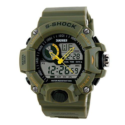 SKMEI Waterproof Digital Analog Sports Watch Hybrid Watch Rubber Band Quartz Dial Wristwatch (Yellow)