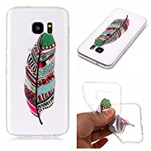 Galaxy S8 Case,Samsung Galaxy S8 Case Shockproof Rubber,Gostyle Flexible Transparent Soft TPU Slicone Green Feather Pattern Scratch Resistant Ultra Slim Fit Back Cover