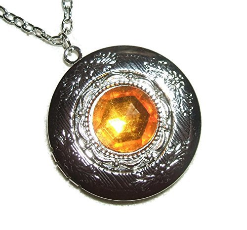 GOLDEN TOPAZ Czech Glass LOCKET NECKLACE Silver Pltd Pendant Rich Color Faceted Stone