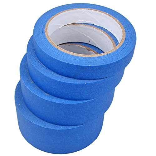 Amariver 4 Pack Blue Painters Masking Tape, Professional Grade Masking Edge Trim Easy Removal Paint Tape for Art and Craft Projects or Painting, 18 mm/24 mm/36 mm/48 mm, Total 120 Meters