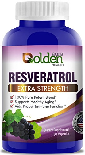 Golden Aura Resveratrol Supplement - 1200mg Extra Strength Formula With Green Tea, Acai, Grape Seed Extract - 60 Capsules - 2 Capsules Per Day For 30 Days For Optimal Resveratrol Benefits