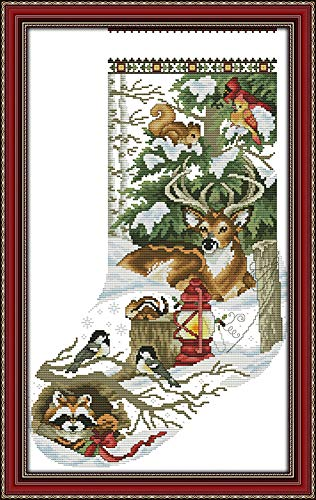 YEESAM ART New Cross Stitch Kits Advanced Patterns for Beginners Kids Adults - Christmas Stockings Deer Birds Animals - DIY Needlework Wedding Christmas Gifts (Animals, Stamped)