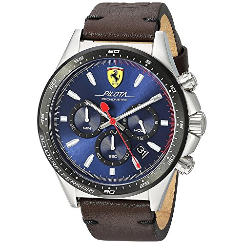 Ferrari-Mens-Pilota-Quartz-Stainless-Steel-and-Leather-Casual-Watch-ColorBrown-Model-830435