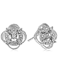 Sterling Silver Diamond Accent Pave Stud Earrings by DiAura
