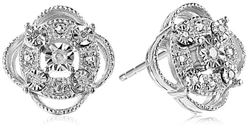 (Sterling Silver Diamond Accent Pave Stud Earrings)