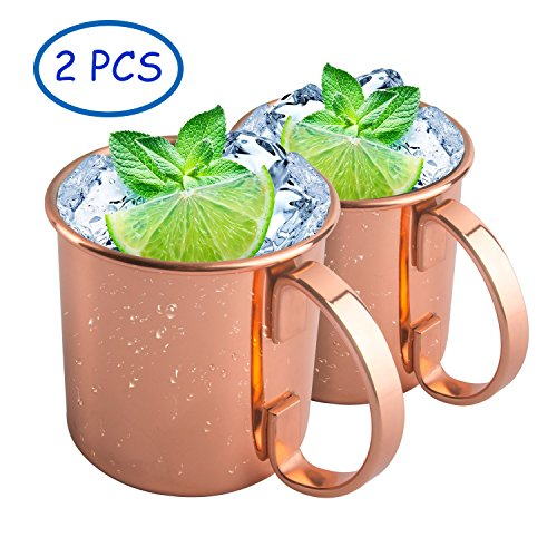 Tassytown Moscow Mule Copper Mugs, Set of 2, Best Mug for Mules, Beer and other Ice Cold Drindks, 16 - Ice Mule