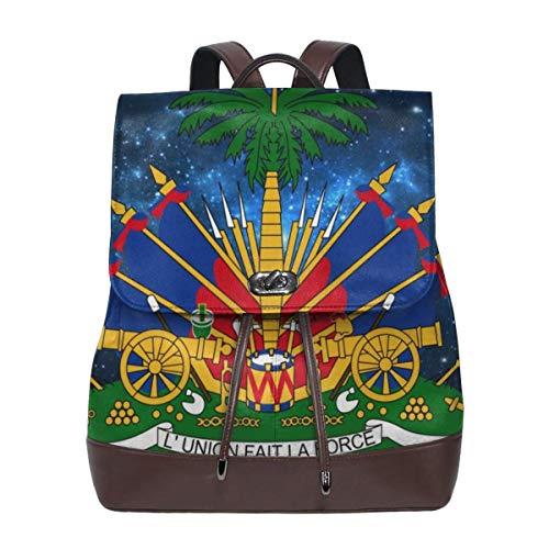 Women's Leather Backpack Starry Haitian Embassy Laptop Bag Elegant Casual Daypack Travel Shoulder Bag For Men