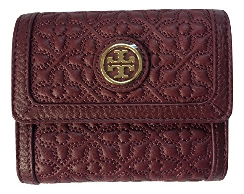Tory Burch Bryant Leather Mini Wallet (Red Agate) by Tory Burch