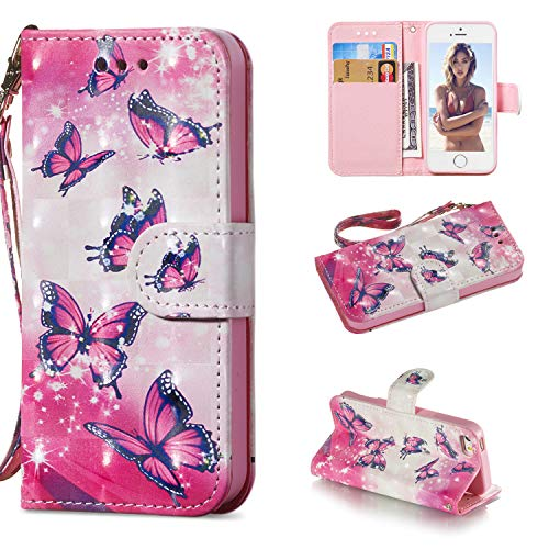 (Ostop Wallet Case for iPhone SE/iPhone 5S/iPhone 5,White PU Leather Case,Card Slots Stand Holder Wrist Strap Magnetic Flip Cover Shockproof Protective for iPhone SE/5S/5,Rose Red Butterfly Pattern)