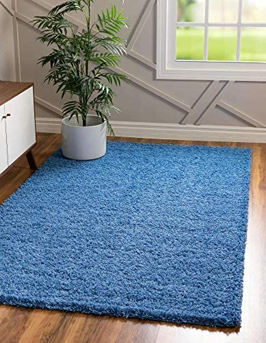 Unique Loom Solo Solid Shag Collection Modern Plush Periwinkle Blue Area Rug 5' 0 x 8' 0