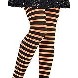 Fancy Dress VIP Kids Girls Halloween Orange & Black Striped Pumpkin Witch Tights Costume Accessory