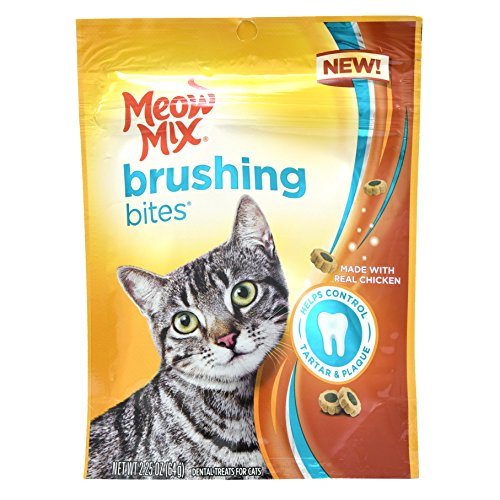 Meow Mix Brushing Bites Cat Dental Treats Made with Real Chicken, 2.25 oz/One Size Review