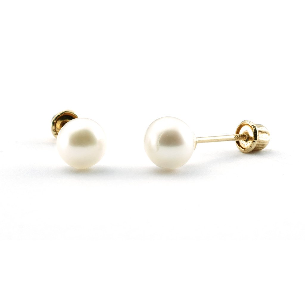 jewellery for kids gold earrings back pearl products stud ball screw mimosura