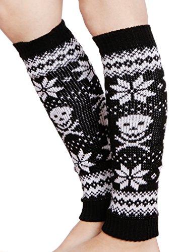 Winter Skull Design Black and White (Skull Leg Warmers)