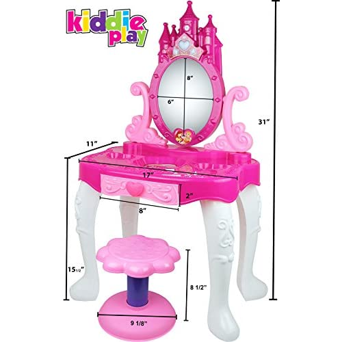 Kiddie Play Little Princess Kids Vanity Table And Chair Beauty Play Set  With Fashion U0026 Makeup