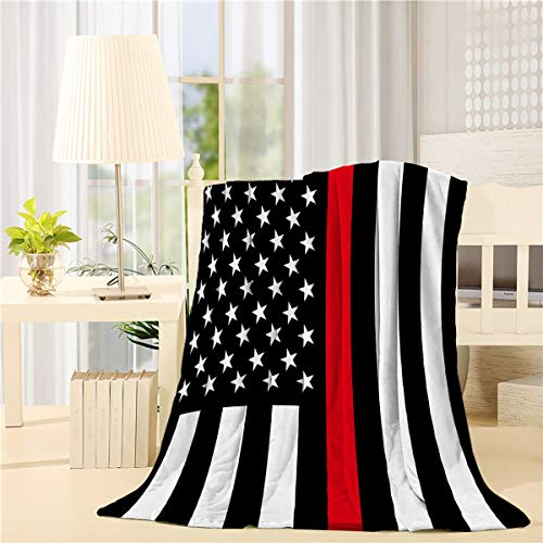 Beauty Decor Geometric Bed Blanket 60x80 inch Flannel Blankets Firefighter Flag Thin Red Line Air Conditioning Throw Blanket for Bedroom Living Rooms Sofa Throw Cover