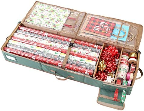 Sattiyrch Gift Wrapping Paper Storage boxes,600D Oxford Fabric Christmas Ribbon Gift Bag Bows Storage Box,Holds as much as 20 Rolls,42W x 14D x 5H (Green)