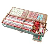 Sattiyrch Gift Wrapping Paper Storage containers,600D Oxford Fabric Christmas Ribbon Gift Bag Bows Storage Box,Holds up to 20 Rolls,42W x 14D x 5.9H (Green)