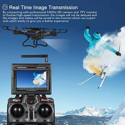 Drone with HD Camera, Potensic F183DH Drone RC Quadcopter RTF Altitude Hold UFO with est Stepless-speed Function,2MP Camera& 5.8Ghz FPV LCD Screen Monitor & Drone Carrying Case - Black by Potensic