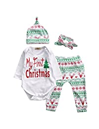 Baby Girls Christmas Xmas 4pcs Outfit Headband+Hat+Romper+Pants Leggings