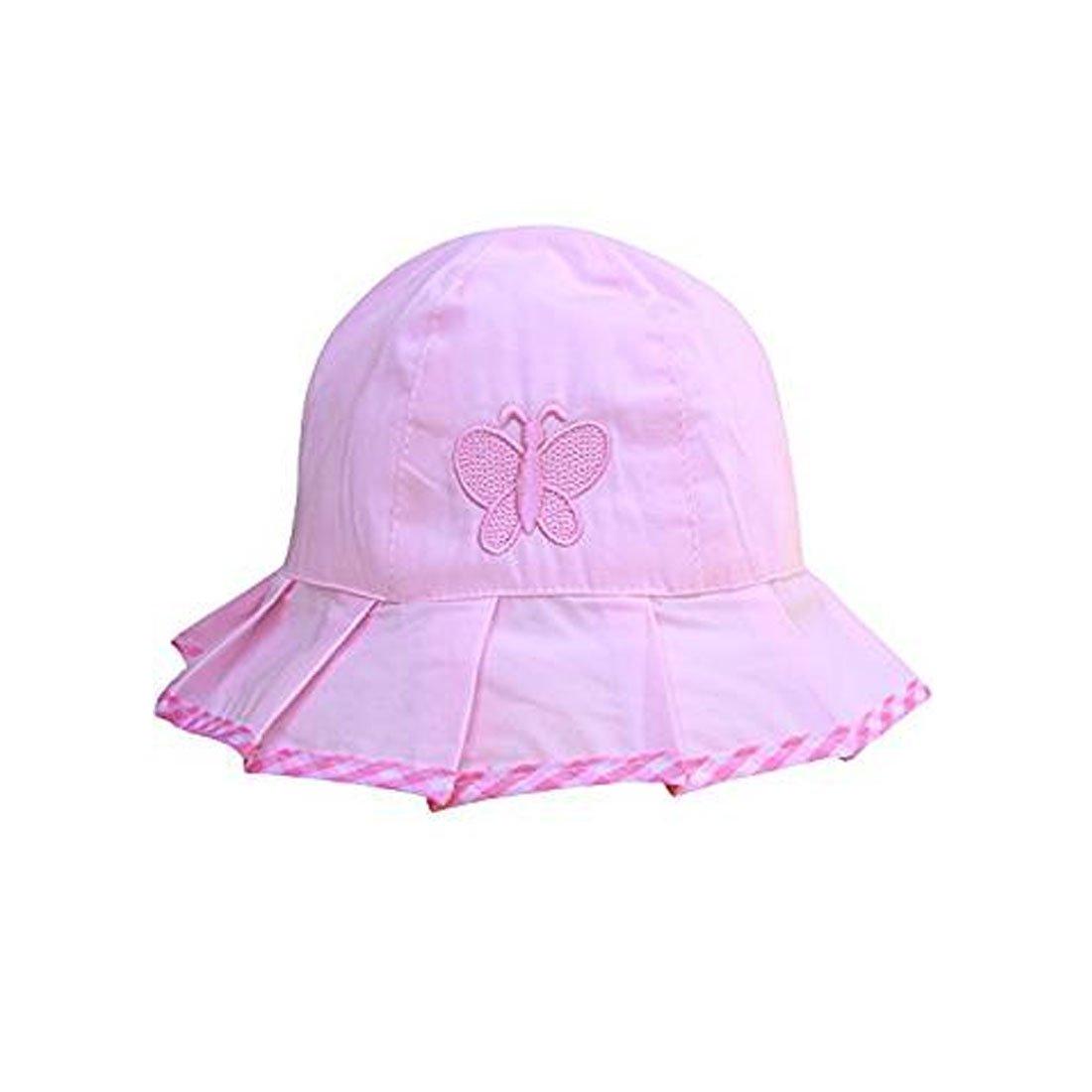 Linda de los bebés Niños rayas y mariposas Sun del verano del sombrero del capo Edad bordado 3-24 Meses - Rosado Simply Gorgeous