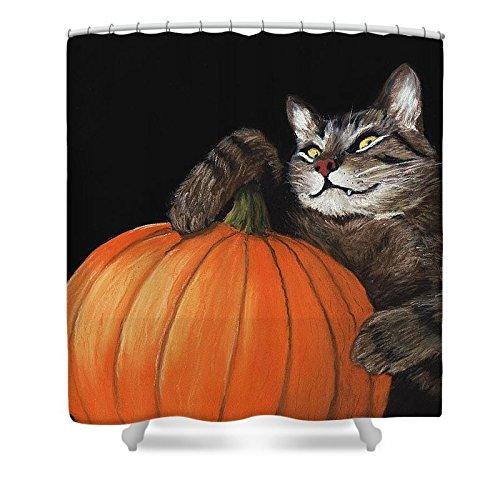Pixels Shower Curtain (74'' x 71'') ''Halloween Cat'' by Pixels