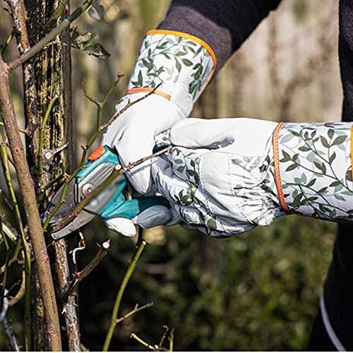ガーデン手袋女性ソフトトリムバーブフラワー保護手袋ファッションインドの庭師作業ギフト、1ペア