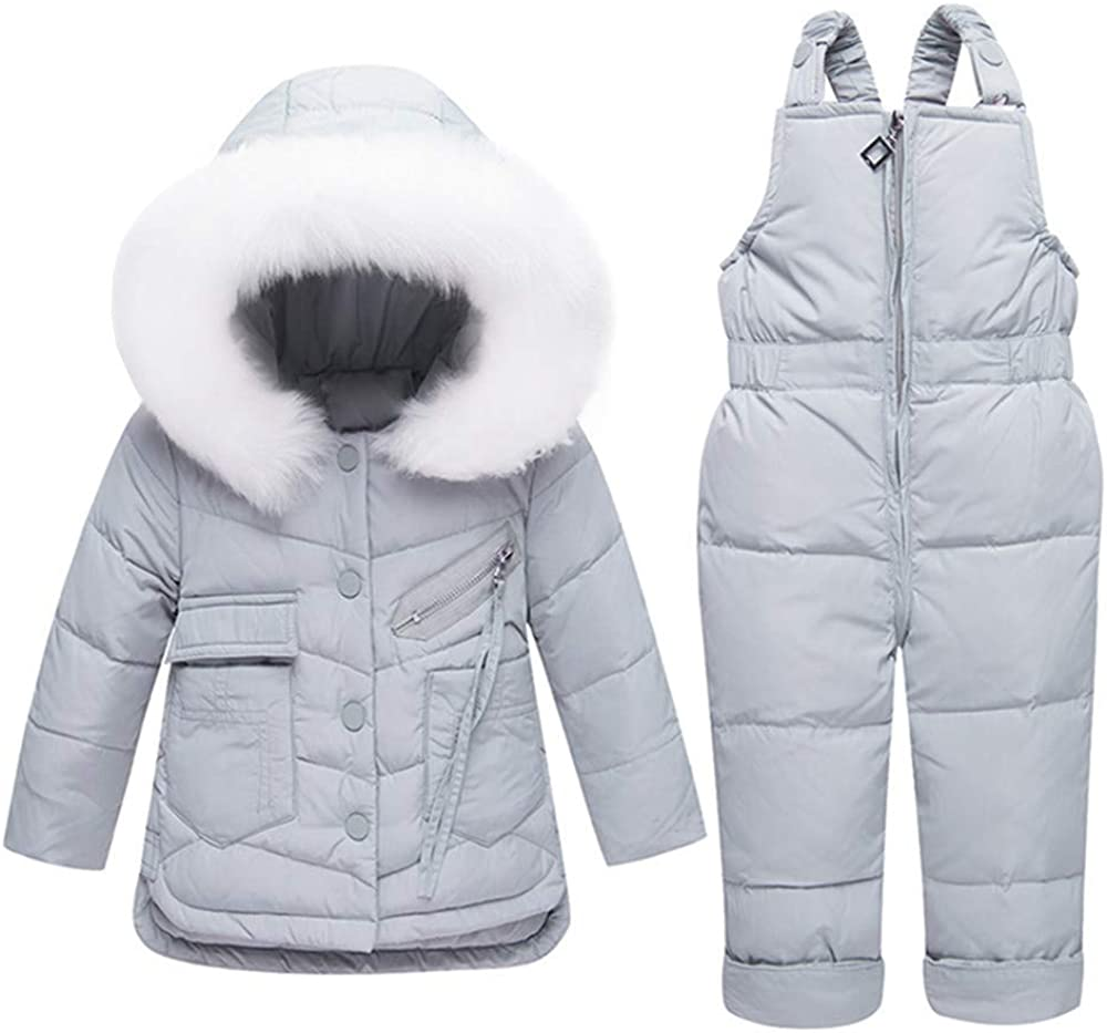 ZPW Baby Kids 2-Piece Down Snowsuit Fur Trimmed Hooded Jacket//Snow Bib Pants