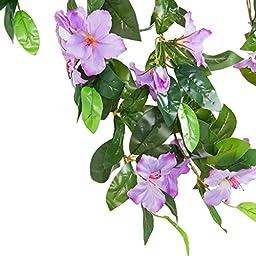 Azalea Artificial Silk Flowers Hanging Plant Vine for DIY Garland Home Party Wedding Garden Decor Pack of 2 (Purple)