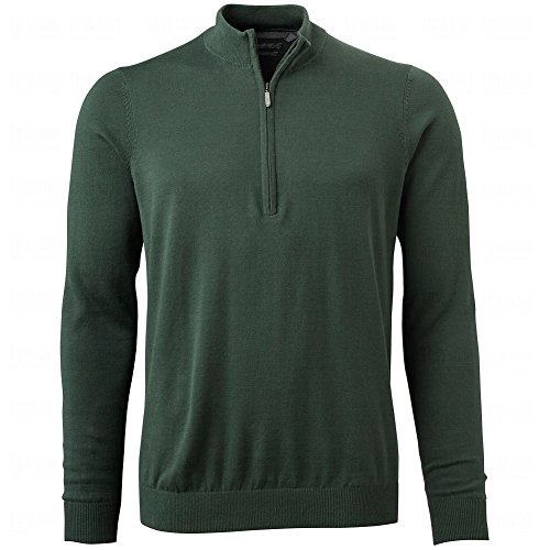 Ashworth Men's Solid Half Zip Pima Sweater (Large, Fern)