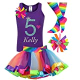 5th Birthday Shirt Rainbow Tutu Girls Party Outfit 4PC Gift Set Personalized Name Age 5