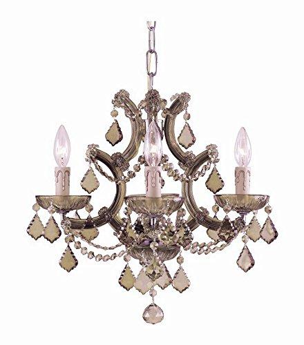 Crystorama 4474-AB-GT-MWP, Maria Theresa Mini Crystal Chandelier Lighting, 4 Light, 240 Watts, Brass