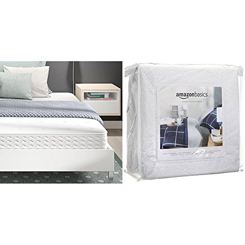 Signature Sleep Contour 8 Inch Reversible Independently Encased Coil Mattress with CertiPUR-US certified foam, King with AmazonBasics Hypoallergenic Vinyl-Free Waterproof Mattress Protector, King