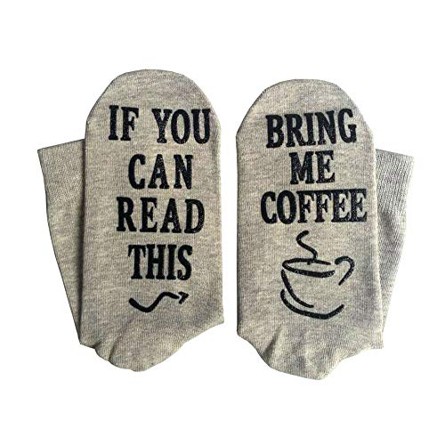 Yinpinxinmao Bring Me Coffee Funny Letter Creative Print Breathable Cotton Men Women Long/Short Socks Middle Tube Socks Grey Long ()