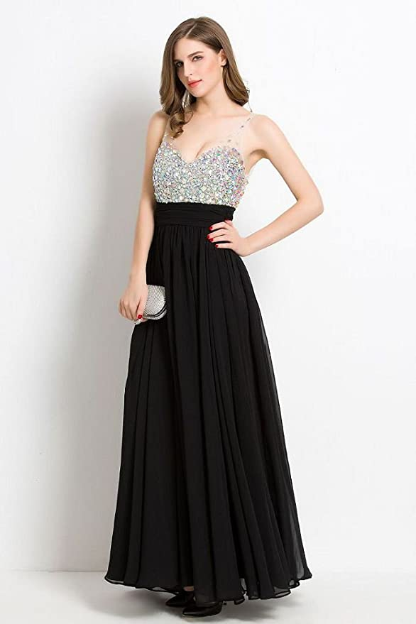 fd639f3f76e2 Amazon.com: Beauty-Emily Long Prom Dresses 2018 Beaded Formal Evening Party  Cocktail Wedding Guest Gowns: Clothing