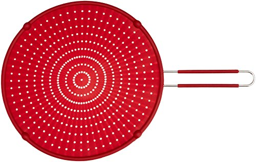 ExcelSteel Silicone Splatter Screen with Non-Slip Grip, Red, 13