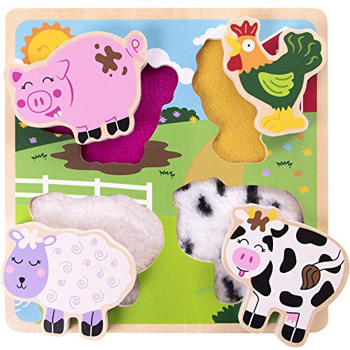 Professor Poplar's Farm Animal Friends Texture Puzzle | Classic Wooden Sensory Touch Toy | Tactile, Special Needs ()