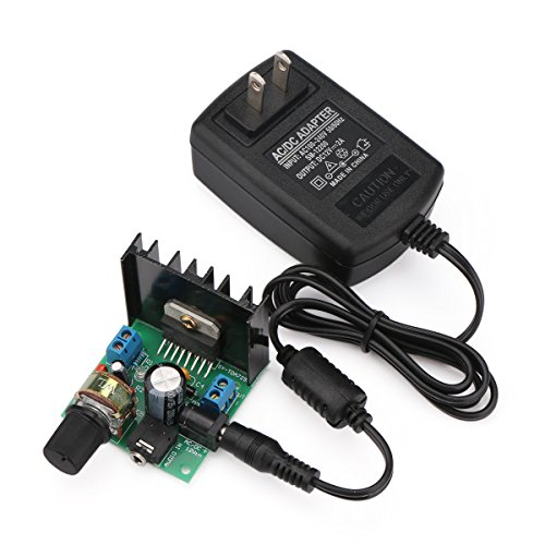 (DROK Micro Stereo Amplifier Amplify Board 6V to 18V Power Supply Digital Amp Module Electro Portable Ampli Dual Channel 15W+15W with 12V/2A Switch Power Supply Adapter Voltage)