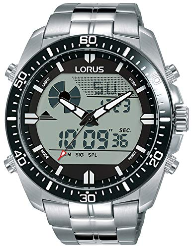 Digital Man Mens Analog Quartz Watch with Stainless Steel Bracelet - Lorus R2B03AX9