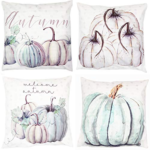 ZUEXT Pack of 4 Autumn Pumpkin Decorative Throw Pillow Covers Sofa Throw Cushion Cover for Halloween Thanksgiving Day Fall Harvest Home Decoration, Soft Cotton Blend Square Pillowcases 18 x 18 Inch
