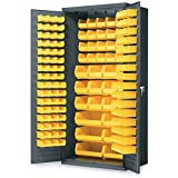 "Akro-Mils AC3624 Y Steel Storage Cabinet with Louvered Panels on Back Wall and Doors, includes 138 Yellow AkroBins, 36"" W x 24"" D x 78"" H"