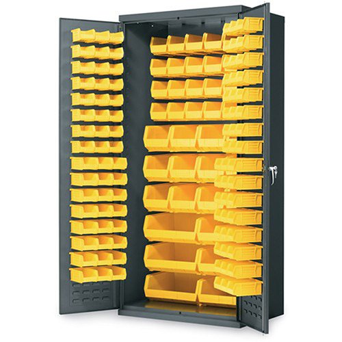 Akro-Mils AC3624 Y Steel Storage Cabinet with Louvered Panels on Back Wall and Doors, includes 138 Yellow AkroBins, 36