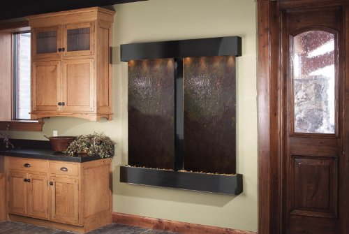 Adagio Cottonwood Falls Fountain w/Rajah Featherstone in Blackened Copper Finish (Indoor Copper Fountain Wall)